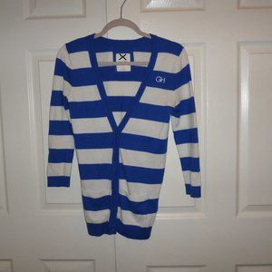 GILLY HICKS Striped Cardigan 2 Front Pocket's